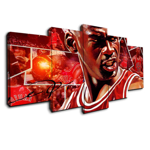 red Michael jordan canvas wall art panel 5 pieces christmas sale