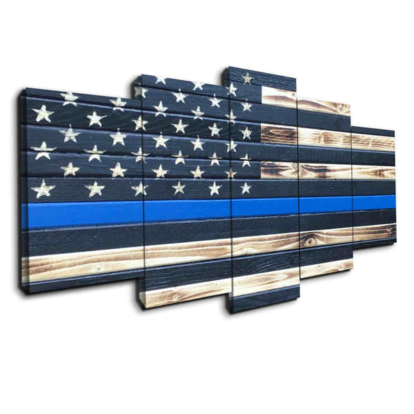 5 pcs Canvas Wall Art - Thin Blue Line Wood Like Print