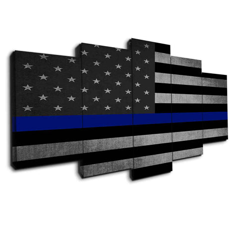 5 panel thin blue line canvas wall art