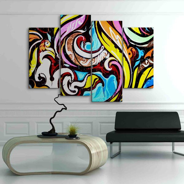 4 panel graffiti design canvas wall art by panelwallart.com