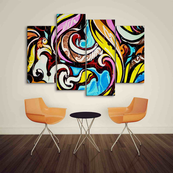 4 panel graffiti wall art canvas