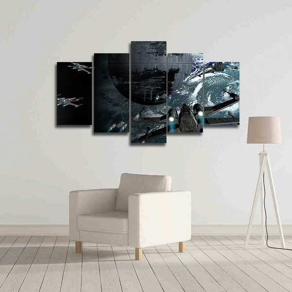 death star x wings canvas wall art 5 panel