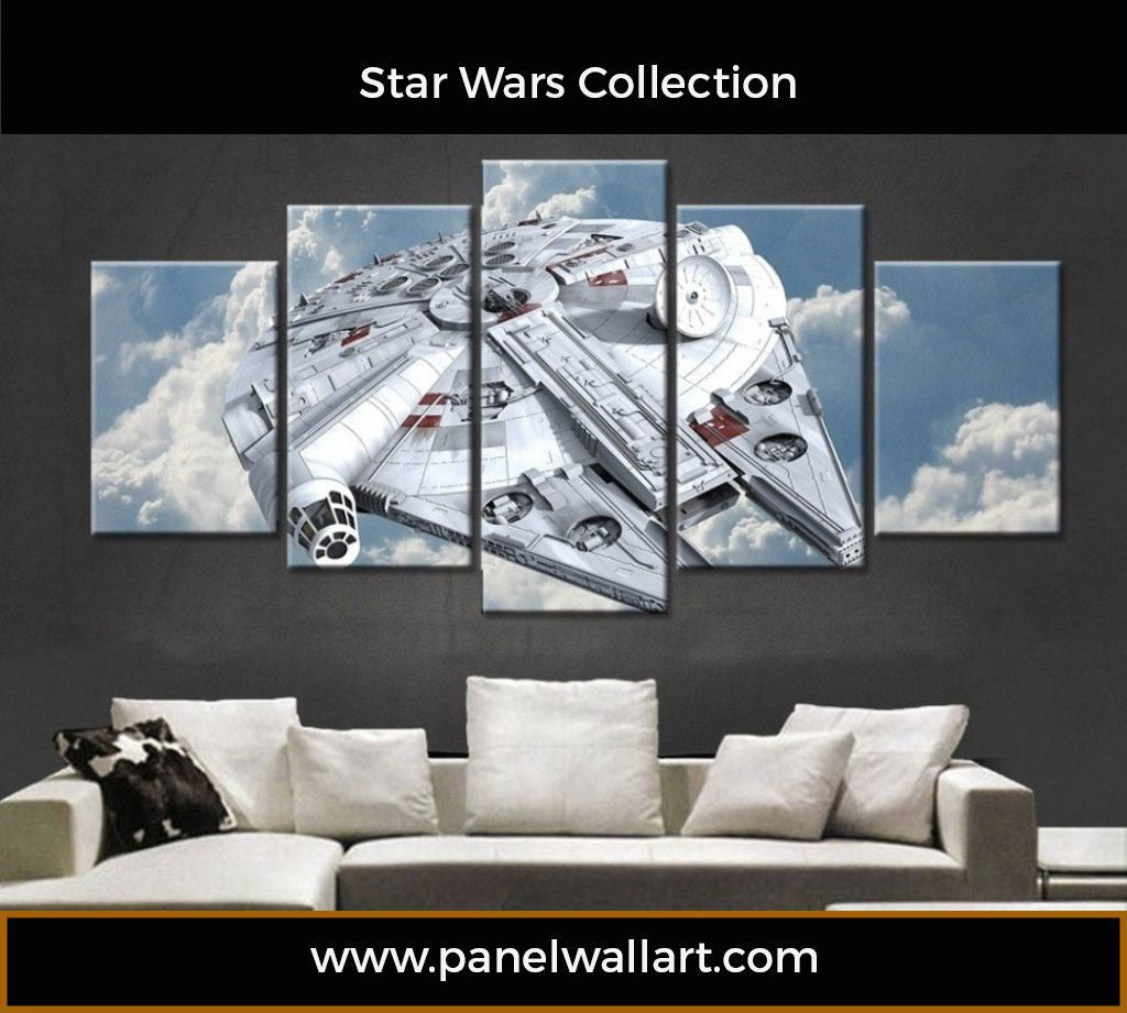 5 Panel Millennium Falcon Wall Art | Star Wars Canvas Art | Panel Wall Art.com