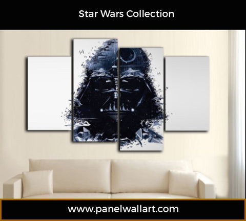 Darth Vader in Watercolour on 4 panel white canvas