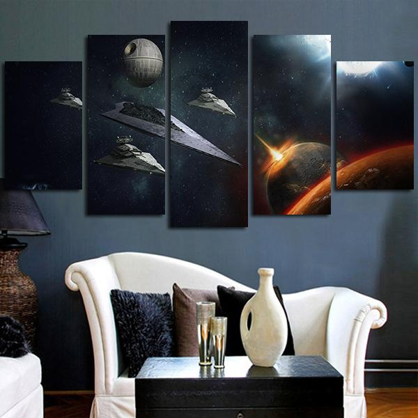 5 panel Star Destroyer Fires Now canvas wall art print