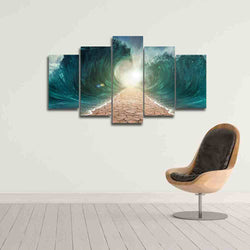 Waterfall Sounds | 5 Panel Canvas Wall Art Prints by Panel Wall Art