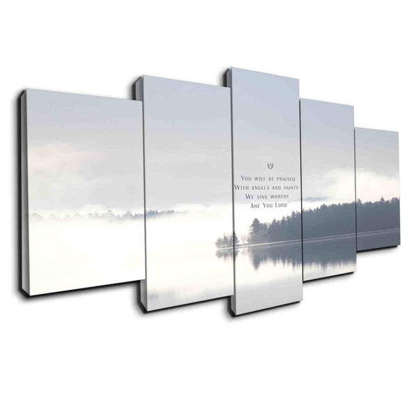 5 panel lake canvas wall art christian song faith lord and god
