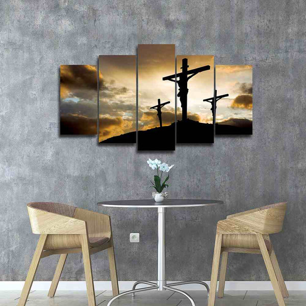 cross on mount calvary canvas wall art