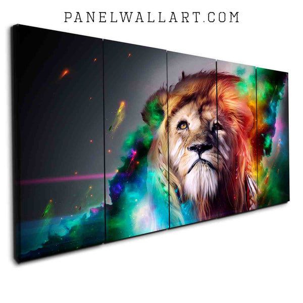 5 Panel Canvas Set - Colourful Lion in Rainbow Graphics by PanelWallArt.com