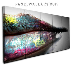 5 Panel Canvas Set - Colourful painted lips by PanelWallArt.com
