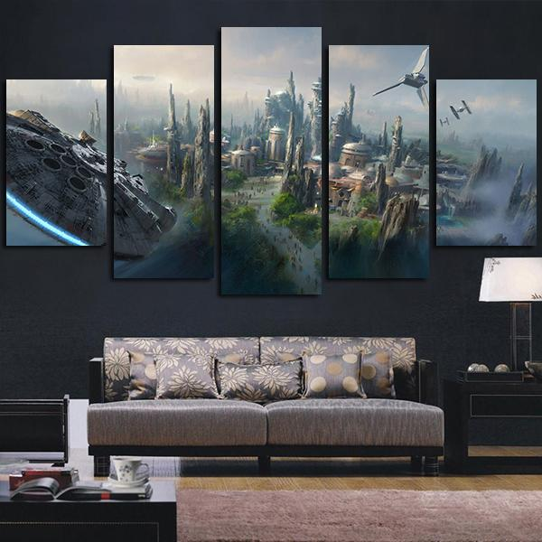 5 panels City of Star Wars canvas wall art print - panelwallart.com