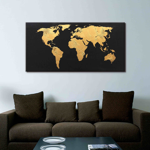 Gold and black world map buy high quality abstract oil paintings 1 panel gold world map with black canvas wall art gumiabroncs Gallery
