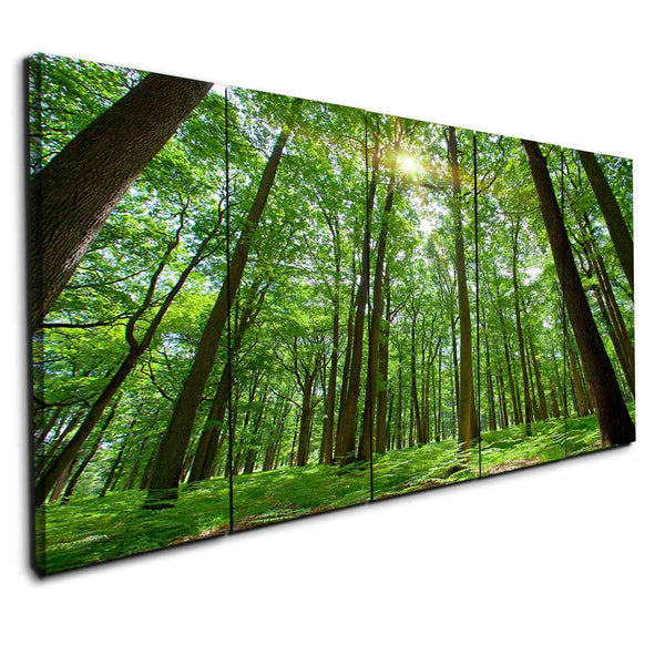 5 panel tree forest in the wood canvas wall art print framed by panelwallart.com