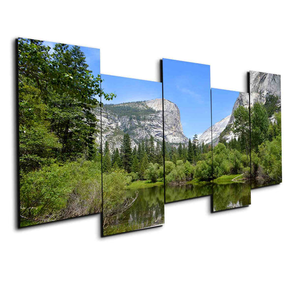 5 panel Yosemite Forest and Lake canvas wall art print framed by panelwallart.com
