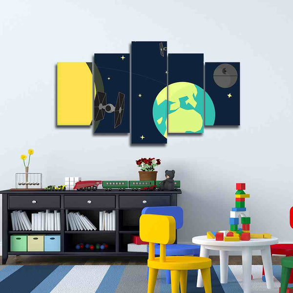 star wars 5 pieces nursery art canvas framed