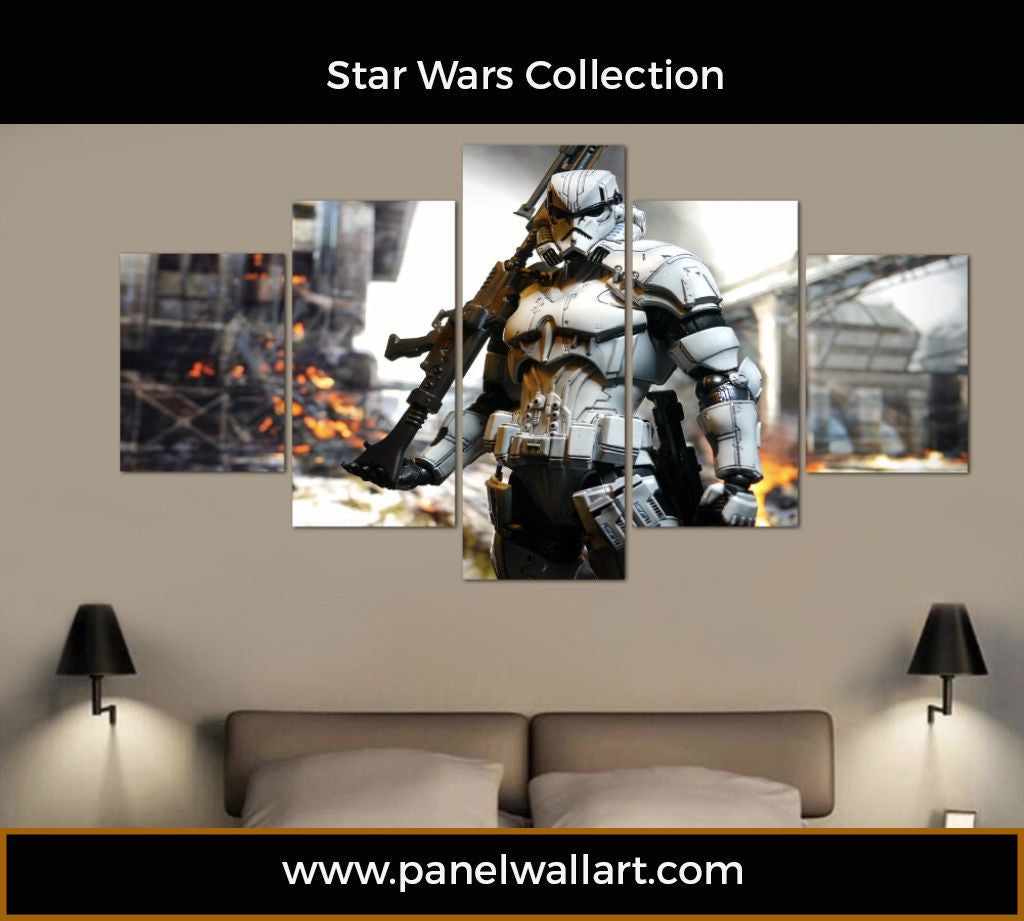 5 Panel Stormtrooper Wall Art | Star Wars Canvas Art | Panel Wall Art.com