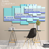 5 Panels Canvas Wall Art Prints Framed Size Chart by PanelWallArt.com