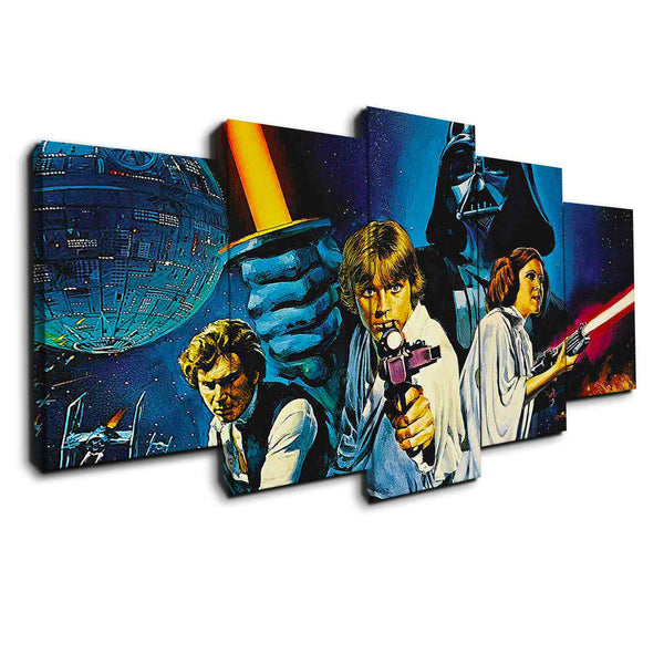 5 panel canvas of old star wars collectible art work