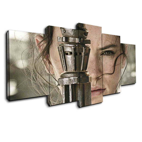 5 panel Rey Force Awaken from Star Wars - panelwallart.com