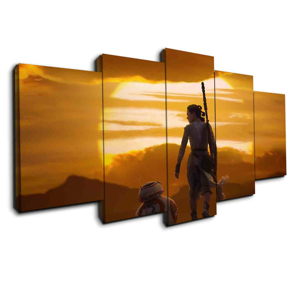 5 panel bb8 and rey star wars canvas wall art