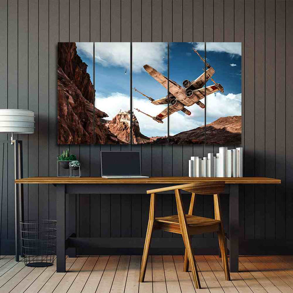 5 panel Battle of Star Wars canvas wall art by panelwallart.com