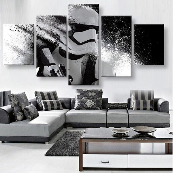5 Pieces canvas wall art - Star Wars White Troopers in Action  - panelwallart.com