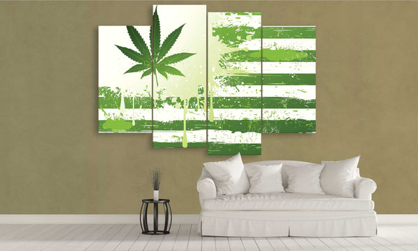 5 panel green weed canvas flag wall art