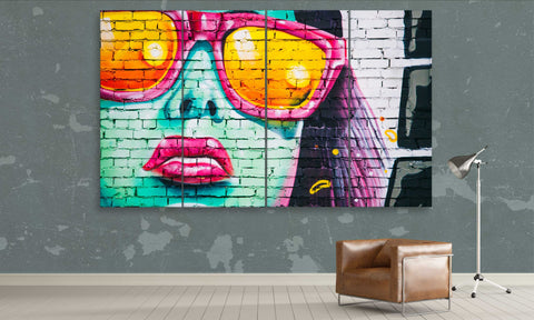 graffiti girl with stylish glasses framed canvas panel wall art by panelwallart.com