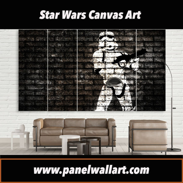 5 panel Star Wars Canvas Prints of Stormtrooper Graffiti on Wall