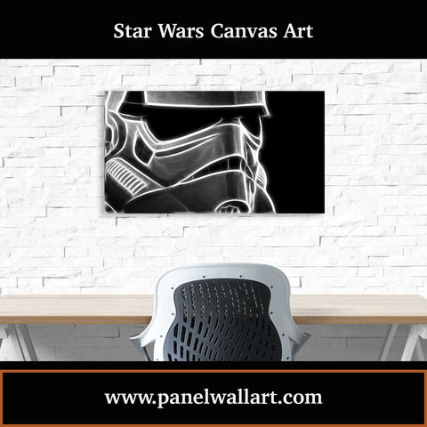 1 panel star wars canvas wall art prints of Smokey Stormtrooper Helmet