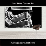3 panel star wars canvas wall art prints of Smokey Stormtrooper Helmet