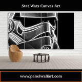 4 panel star wars canvas prints of Smokey Stormtrooper Helmet