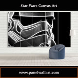 5 panel star wars canvas wall art prints of Smokey Stormtrooper Helmet