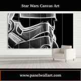 6 panel star wars canvas art of Smokey Stormtrooper Helmet