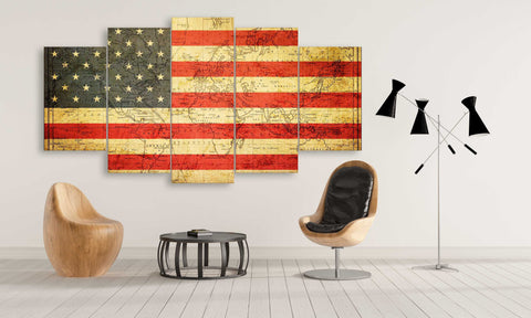 Usa flag overlay with magnetic curves world map flags 5 panel usa flag overlay with magnetic curves world map canvas wall art gumiabroncs Image collections