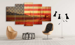 5 panel USA Flag of Shades of Golden Gate Bridge canvas wall art prints