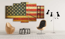 5 panel USA Mosaics Flag Overlay with Golden Gate Bridge canvas wall art prints