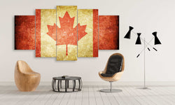 5 panel Canada Retro Flag with Scratches canvas wall art prints