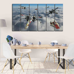 6 pieces star war canvas wall art x wings flying in sky