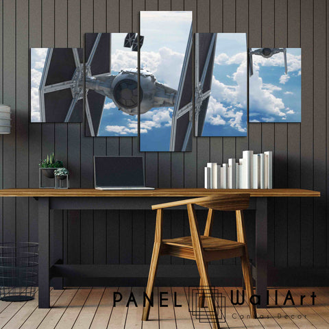 5 panels star wars the fighters canvas wall art over the blue sky
