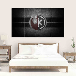 4 Panel Star Wars Canvas Wall Art Rebel Alliance Galactic Republic Symbol