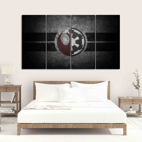 5 pieces star wars jedi sith republic logo canvas wall art