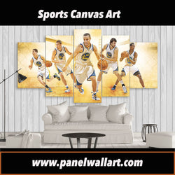 San Francisco Golden State Warriors | 5 Panel Canvas Wall Art Prints by Panel Wall Art