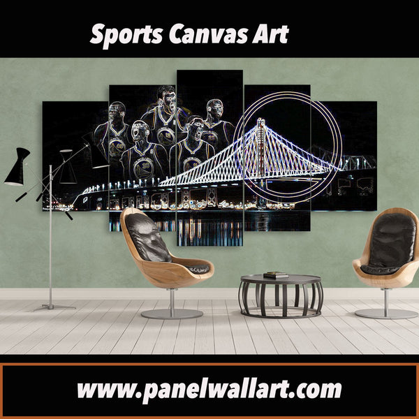 5 pieces exclusive golden state warriors canvas wall art