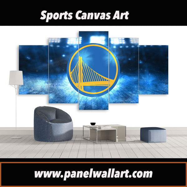 5 panel of 2017 NBA Champions Golden State Warrior Logo canvas art