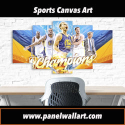 5 panel Golden State Warrior NBA Champions canvas wall art