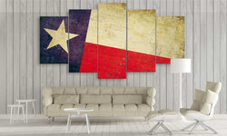 5 panel texas state flag canvas wall art