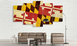 5 panel maryland state flag canvas wall art