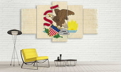5 panel illinois state flag canvas wall art