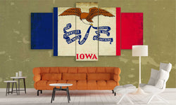 5 panel iowa state flag canvas wall art